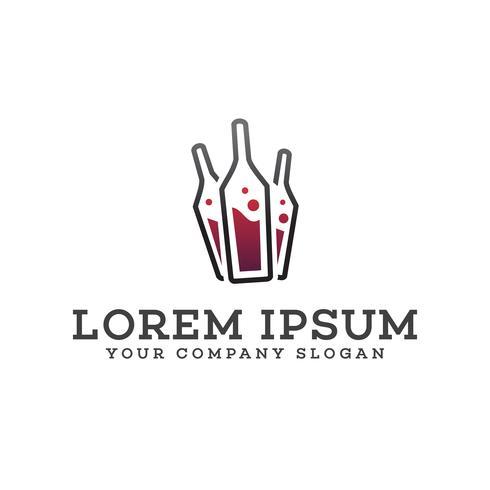 Weinflasche Logo-Design-Konzept-Vorlage vektor