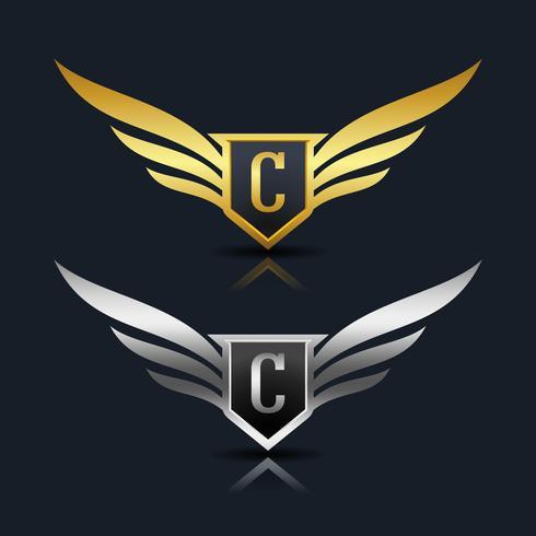 Logo emblema della lettera C.