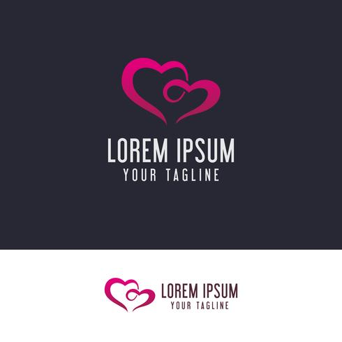Paar Liebe Logo-Design-Konzept-Vorlage
