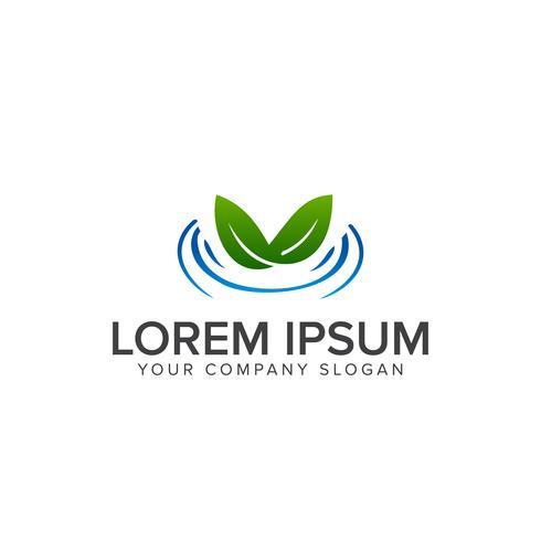 leaf water logo design concept template vector