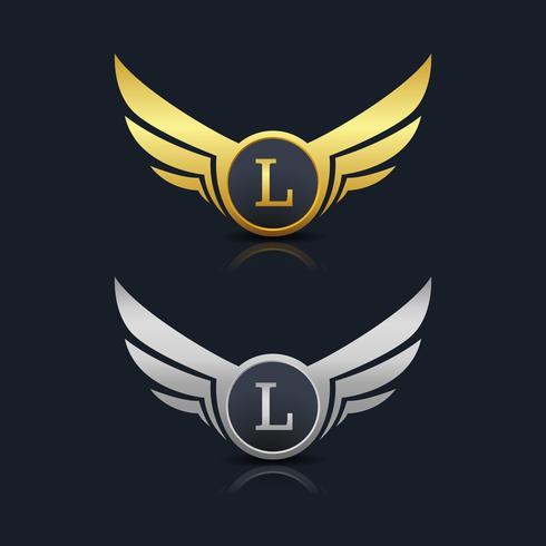 logotipo de emblema letra l