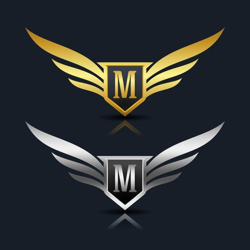 vleugels schild letter m logo sjabloon