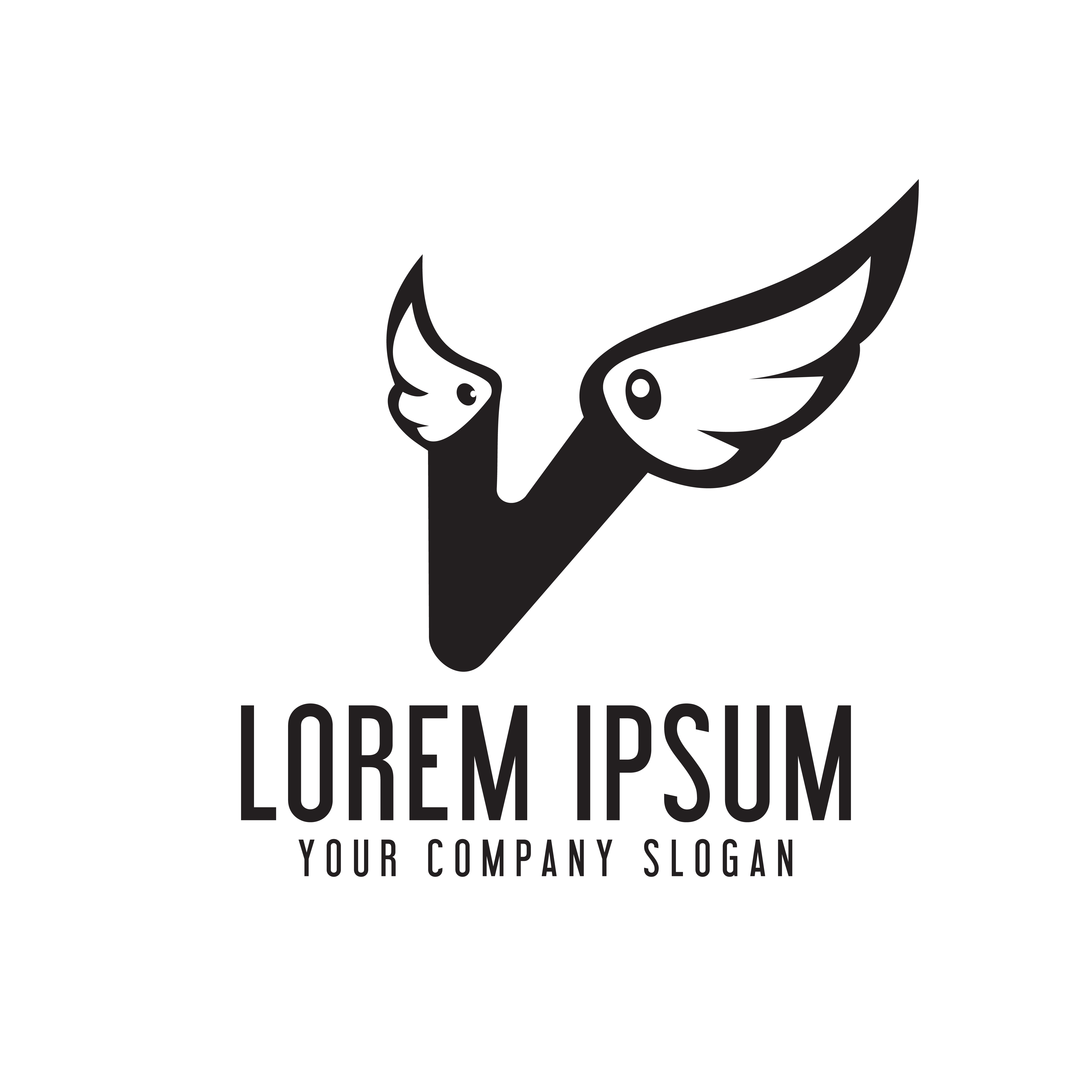 Letter V Wings Logo Design Concept Template