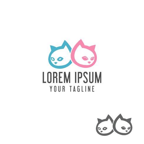 schattige kat hoofd logo ontwerpsjabloon concept