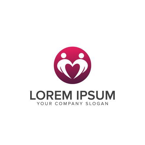 Gente que data plantilla de concepto de diseño de logotipo romántico
