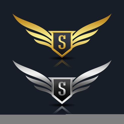 Wings Shield Letter S Logo sjabloon