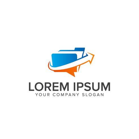 Ordner mit Pfeil-Logo-Design-Konzept-Vorlage