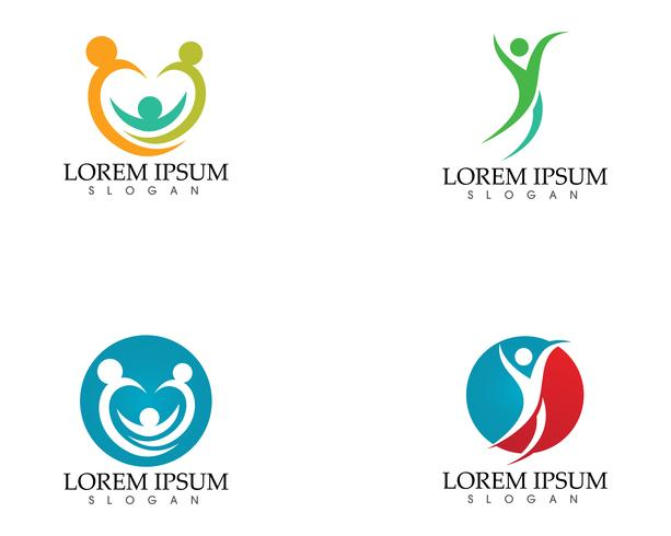 Gens heureux en symbole de logo écologie nature abstraite