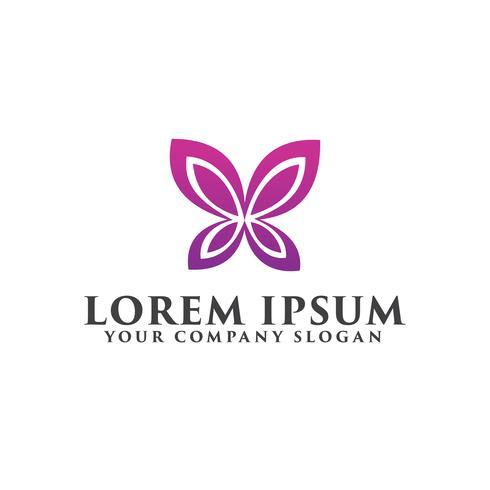 eenvoudige vlinder logo, spa schoonheid logo ontwerpsjabloon concept