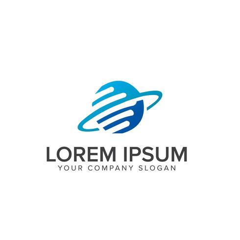 Logotipo de la comunicación tecnológica. Diseño de logotipo de computadora en Internet con vector