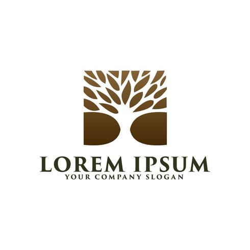 modelo de conceito de design de logotipo de árvore de luxo