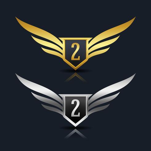Modèle de logo Wings Shield Number 2