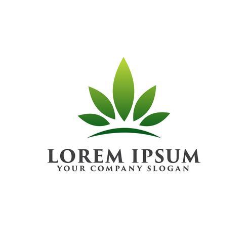 Paisaje floral del jardín de hoja. diseño de logotipo de hoja de corona concepto tem vector