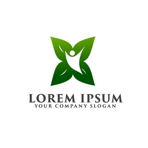 Plantilla del concepto del diseño del logotipo de la gente de la naturaleza de la hoja.