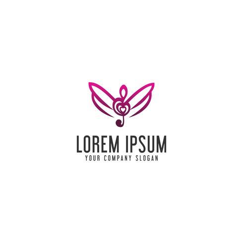 Modèle de concept de musique ailes logo design vecteur