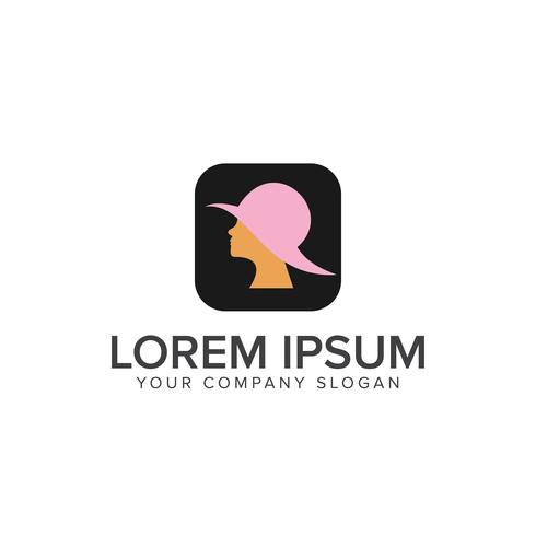 beautiful woman with hat logo. beauty Fashion logo design concep