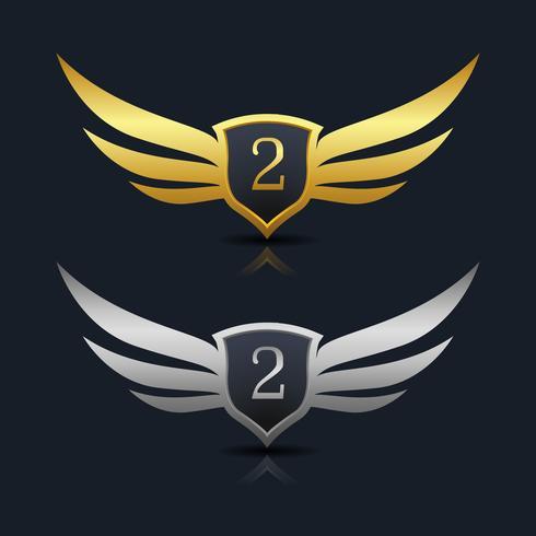 Plantilla de logotipo Wings Shield número 2