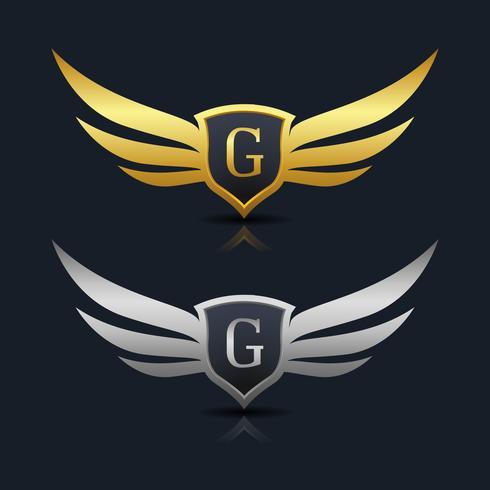 Modèle de logo G de lettre de bouclier d'ailes
