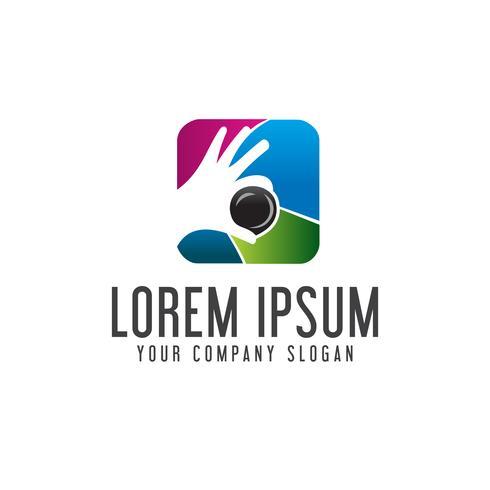 photography hand lens logo. Media logo design concept template