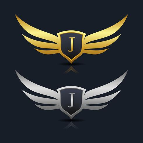 Wings Shield Letter J Logo Template vector