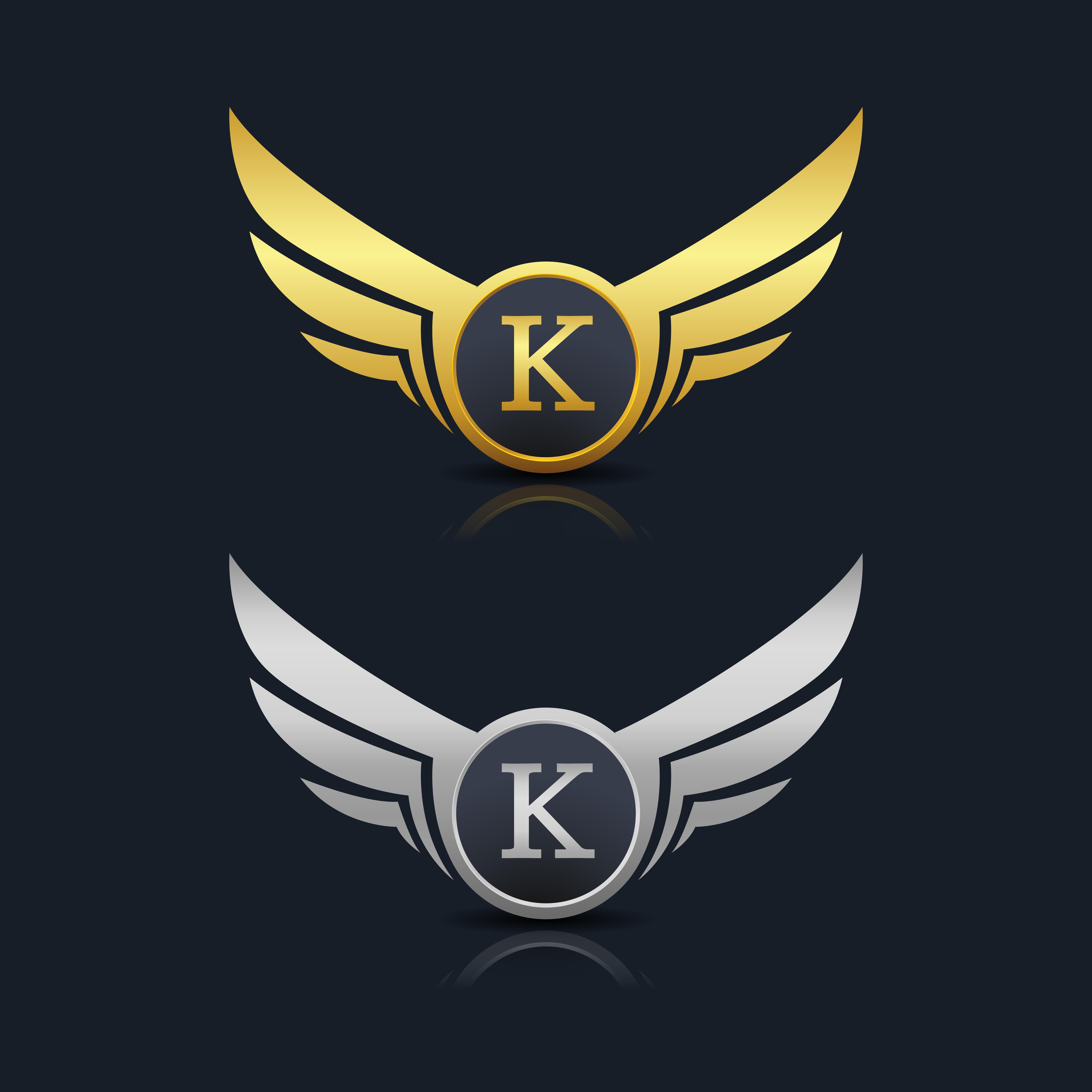 Modern Letter K Logo Concept: Wings Shield Letter K Logo Template 603597