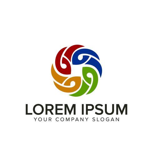 modèle de concept de design de logo décoration fleur multicolore