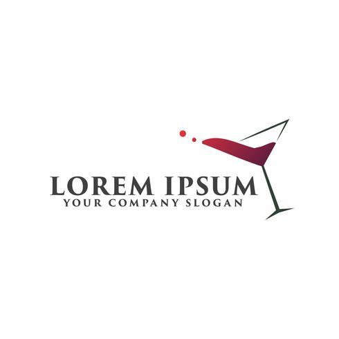 Logotipo de cóctel, plantilla de concepto de diseño de logotipo bar discoteca