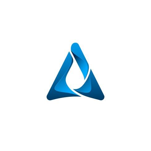 letter A with drop water logo design concept template
