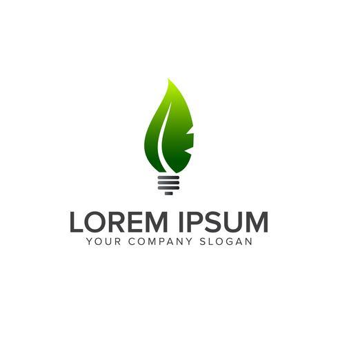 modèle de concept de conception feuille ampoule logo