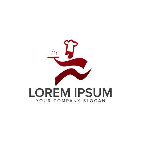 run chef-logo. restaurant logo ontwerpsjabloon concept
