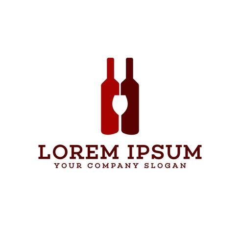 wine bottle and glass logo bar nightclub logo design concept tem