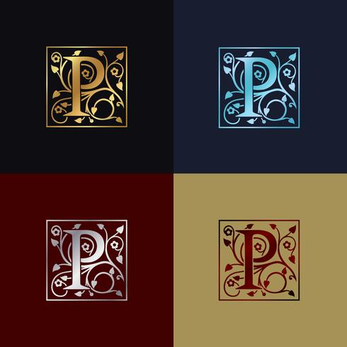 Letter P Dekorativa logotyp vektor
