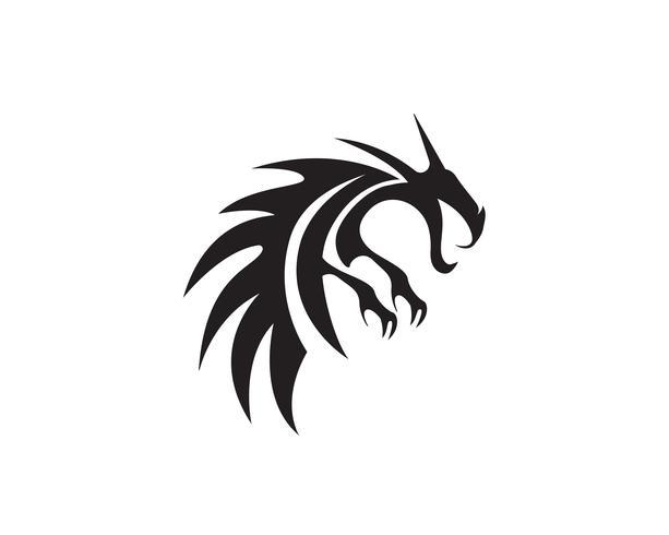 Cabeza dragón plano color logo plantilla vector ilustración