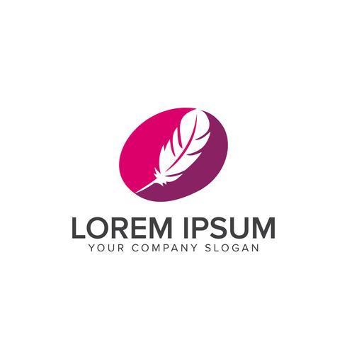 plantilla de concepto de diseño de logotipo de pluma