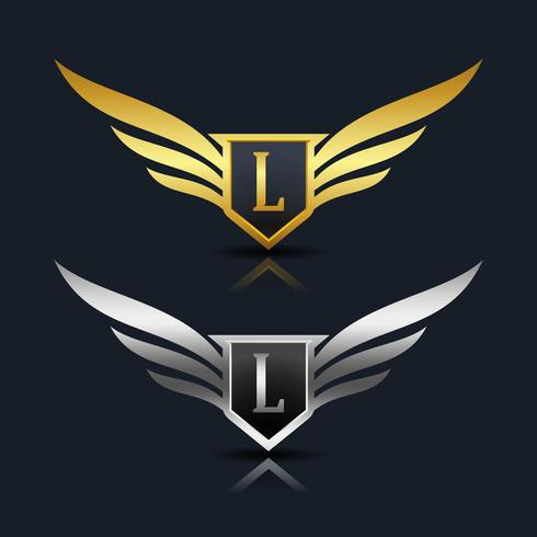 Wings Shield Letter L Logotypmall