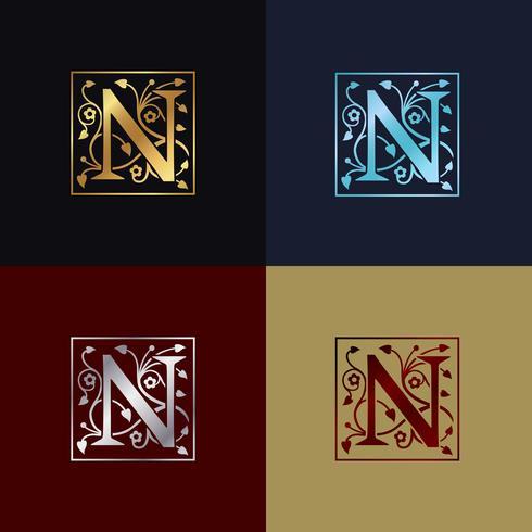 Logotipo decorativo da letra N