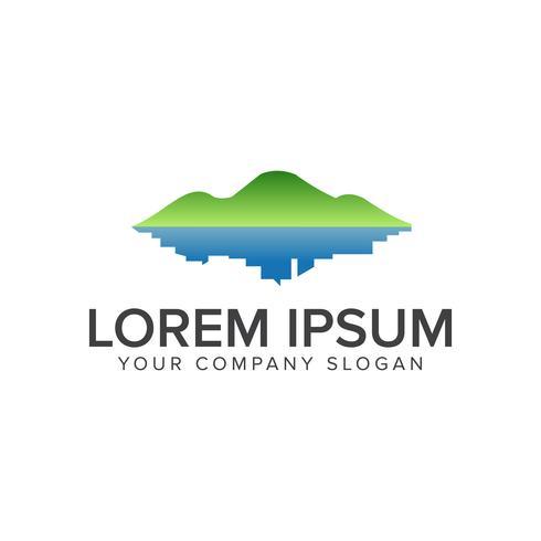 logotipo de la montaña verde y la ciudad. Landscapin ambiental y verde