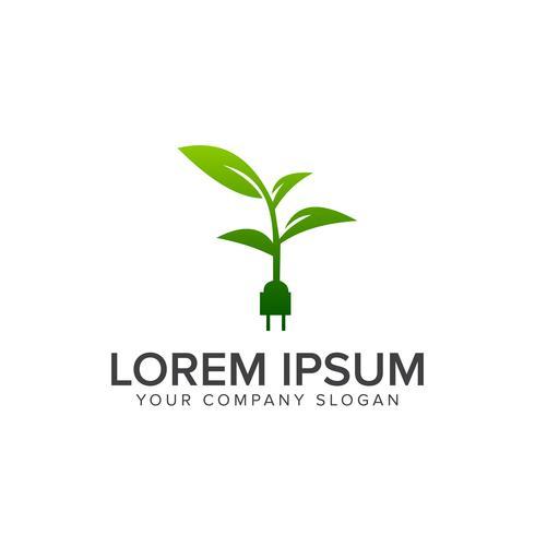 logotipo elétrico verde. modelo de conceito de design de logotipo eco natureza
