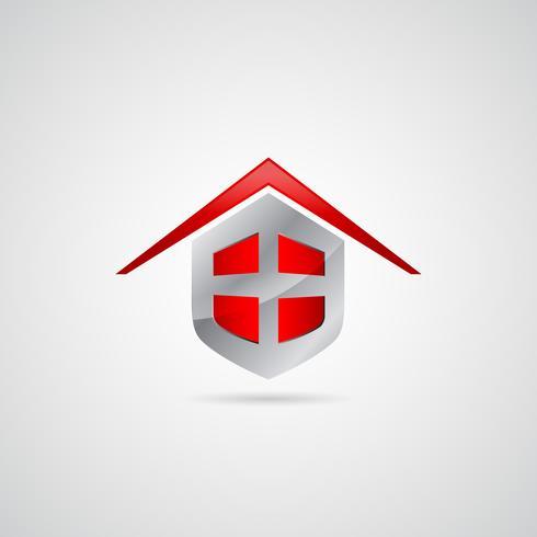Logotipo do símbolo de escudo em casa