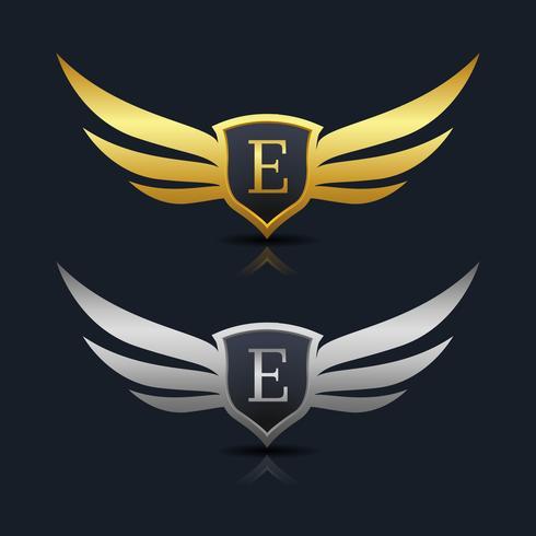 Wings Shield Lettera E Logo Template