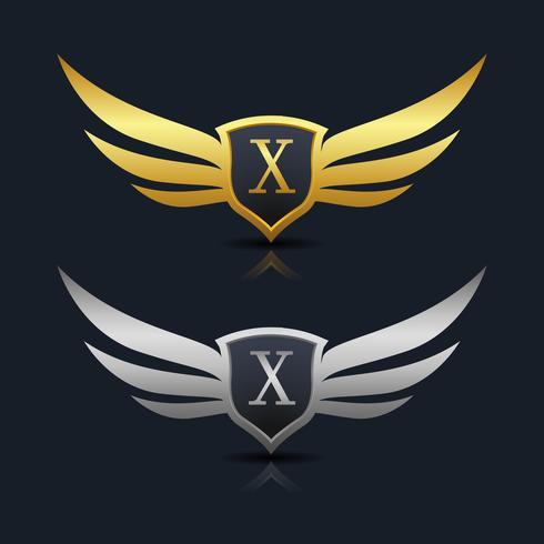Logotipo del emblema de la letra X