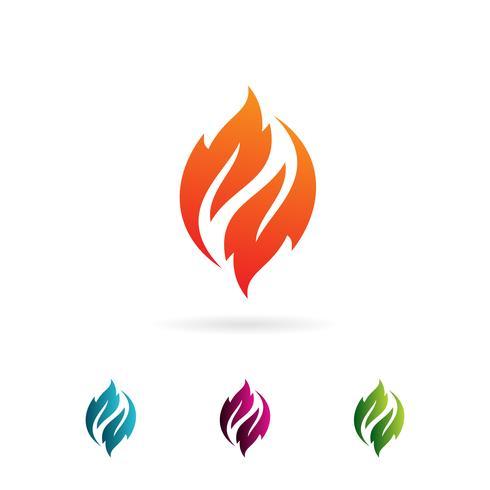 flame leaf logo design concept template