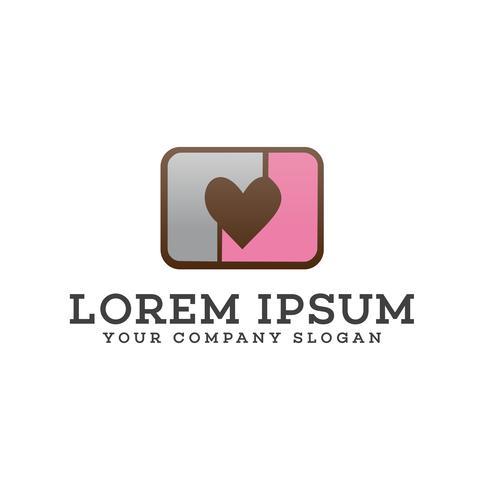 kärlek kamera logo design koncept mall