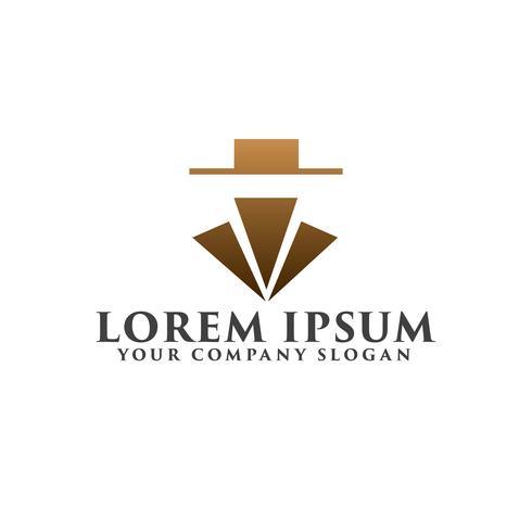 eenvoudige luxe cowboy logo ontwerpsjabloon concept