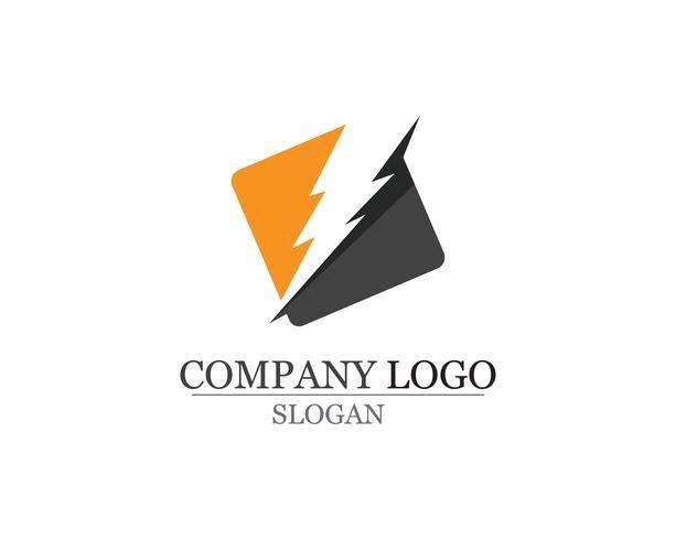 logotipo de ícone de relâmpago e modelo de vetor de símbolos