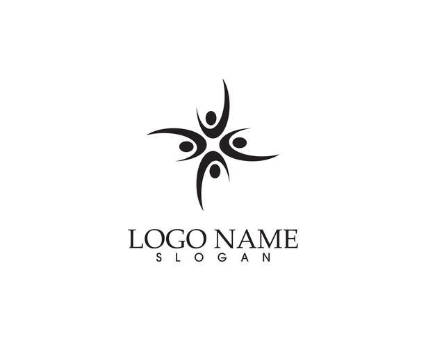 Gezondheidssucces mensen geven logo en symbolen sjabloon