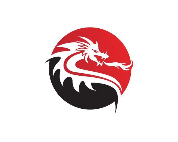 Hoofd draak platte kleur logo sjabloon vectorillustratie
