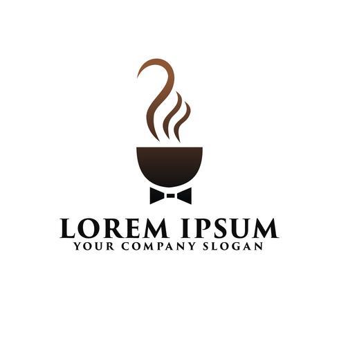 Koffiebusiness met stropdas logo ontwerpsjabloon concept