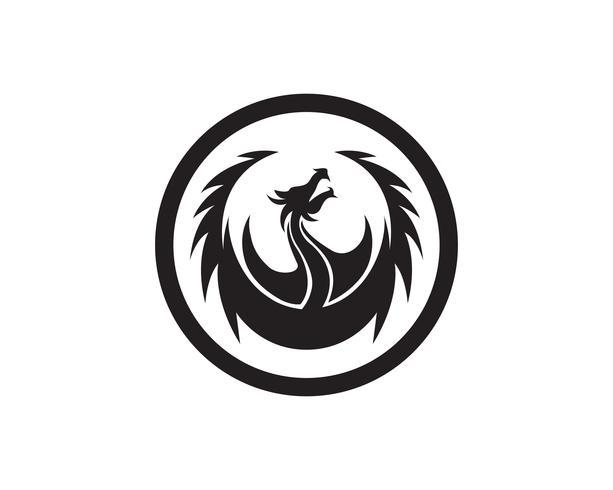 Logo-Schablonen-Vektorillustration des Hauptdrachen flache Farb