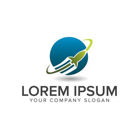logotipo do globo de foguete. conceito de design de logotipo de negócios de tecnologia templ vetor